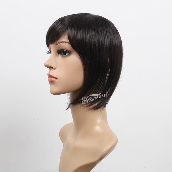 Guangzhou synthetic hair toupee supplier wholesale short straight black hair toupee for women