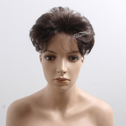ST wholesale short curly brown synthetic hair toupee for bald man or women