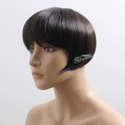 Guangzhou ST factory wholesale short straight black hair toupee with synthetic fiber