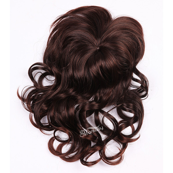 ST long hair style curly burgundy synthetic toupee