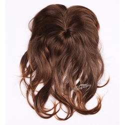 Long curly brown synthetic hair toupee for women wholesale