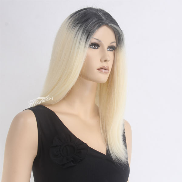 Ivanka Trump same hair wigs style ombre two tone color straight synthetic wigs for fashion women