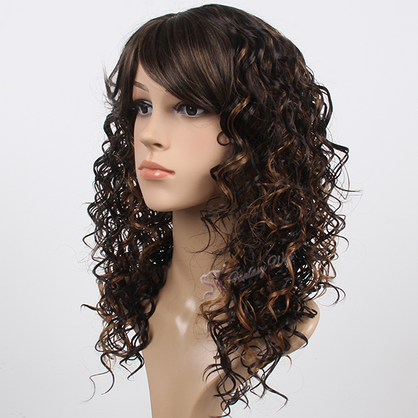 Long curly ombre brown natural scalp syntheitc wigs for German women