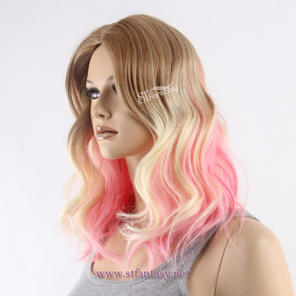 Body wave pink-brown pastel ombre wigs wholesale