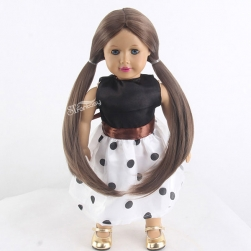 China doll wig supplier wholesale cute synthetic hair wig with double ponytail for american girl dolls