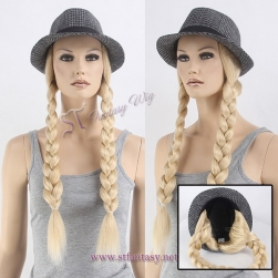 Fantasywig brand fashionable blonde synthetic hair braiding hat wigs for patient