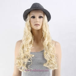 ST 2017 new style synthetic hair hat wig for european american fashion lady