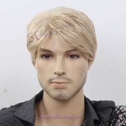 CE identification short blonde man wigs for American,japanese synthetic wig wholesale