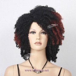 ST 2017 new product black wig brown hightlight synthetic hair afro wig for black women
