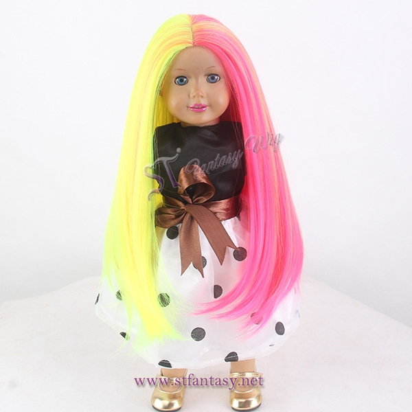 Half yellow half red middle side cosplay doll wig summer american girl doll wig for doll wholesale