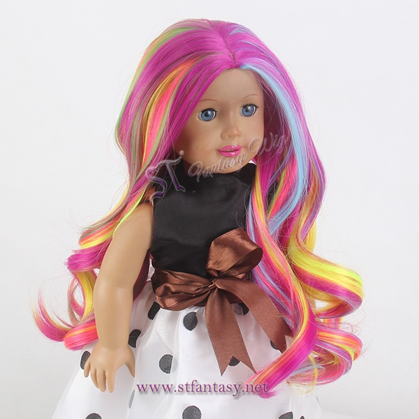 17 inches spring rainbow doll wig body wave long wig for american girl doll