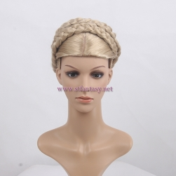 Guangzhou Factory Price Wholesale Drop Shipping Updo Braid Golden Japanese Synthetic Hair Mannequin Wig For Female Stand 2598