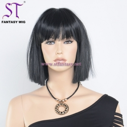 "China Synthetic Wig Wholesale Supplier 13"" Best Quality Short Black Bob Wig For Black Women"