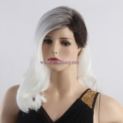 Quality Synthetic Wig Manufacturers China Dark Roots White Curly Long Side Bang Wig For White Women