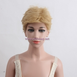 Wholesale Wig Suppliers China Golden Short Curly Heat Resistant Synthetic Hair Wig For Children