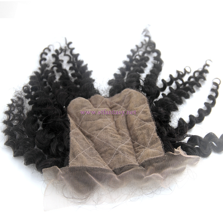 "Top quality remy hair 4""X4"" 3 part closure with factory wholesale price"