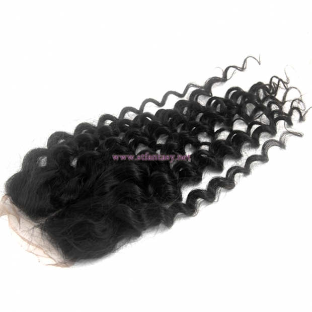 China factory direct wholesale invisible part kinky curly peruvian hair lace closure