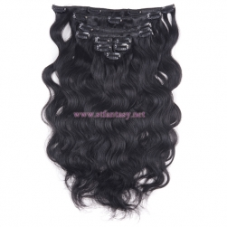 China Wig Supplier Best Quality 7 Pieces Long Curly 100% Indian Human Hair Clip In Hair Extensions For Black Women