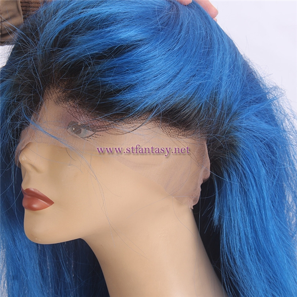 Top Quality Dark Roots Blue Hair Long Silky Straight 100 Brazilian Remy Human Hair 360 Lace Wig Cheap Wholesale