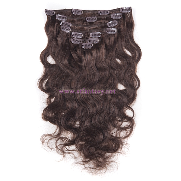 Fantasywig Hot Sale Natural Brown Wavy Low Price 7 Sets Hair Pieces And Clip In Extensions Human Hair