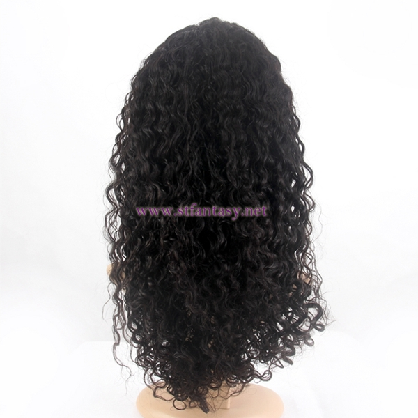 ST 20inch peruvian human hair lace front wigs without bangs for black girl
