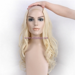 2017 New Design U Part Blonde Wavy High Quality Invisible Synthetic Half Wig From China For White Women