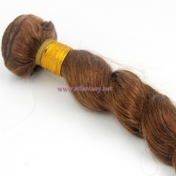 Cheap Human Hair Weft From China Light Brown Loose Wave 100% Peruvian Human Hair Extension