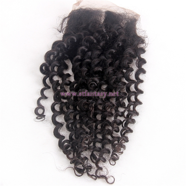 "Lace Frontal With Bundles 4x4 14"" Human Hair Deep Curl Natural Lace Closure For Black Women With Bundles"