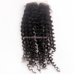 "100 Indain Unprocessed Virgin Human Hair 4x4 18"" Deep Curl Natural  Lace Frontal Closures Made In China"
