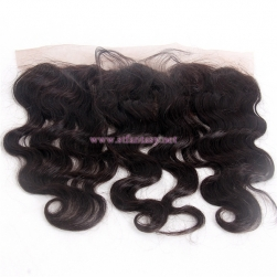 100 Indian Raw Human Hair Pre Plucked Black 13x4 12