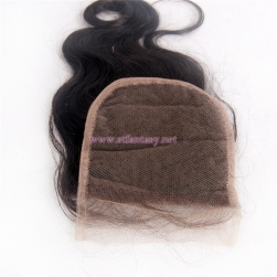 "Professional Wholesale Hair 100% Human Virgin Hair 4x4 8"" Body Weave Natural 1b Lace Frontal Closure"