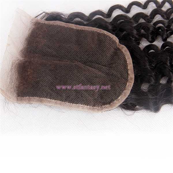 "100% Peruvian Human Hair Wholesale 4x4 16"" Deep Curl Natural Lace Frontal Closures In China With Bundles"