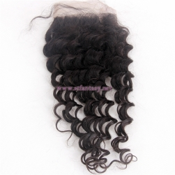 "Hair Extensions Wigs South Africa Suppliers Mongolian 4x4 12"" Deep Weave Natural Lace Frontal Closures"