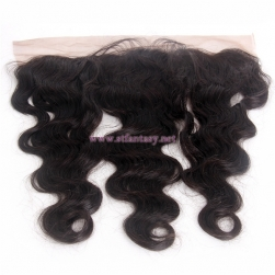 100% Brazilian Unprocessed Virgin Human Hair 13x4 16inch Body Wave 3 Part Natural Black Lace Frontals