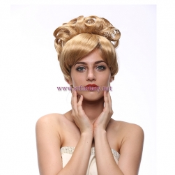 Synthetic Hair Wholesale Hot Sale 14inch Golden Cinderella Beehive Cosplay Party Wigs