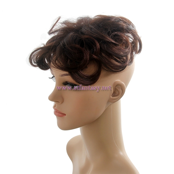 Fantasy wig wholesale women synthetic water wave hair toupee with brown color