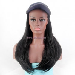 Wholesale Bald Wigs Natural Looking Long Black Synthetic Hair Hat Wig For Black Women