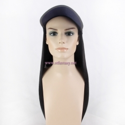Synthetic Hair Wig From China Wholesale Long Black Straight Hat Wig For Bald Women