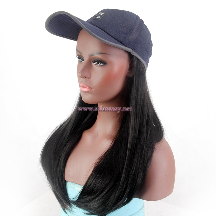 fe12bac4231e4 Wholesale Bald Wigs Natural Looking Long Black Synthetic Hair Hat Wig For  Black Women