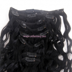 China Human Hair Manufacturers 7 Pieces Clip In Hair Extensions High Quality 16inch Long Curly Human Hair