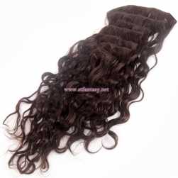 100% Brazilian Human Hair Wholesale Natural Brown 7 Sets Hair Pieces Curly Clip In Hair Extension