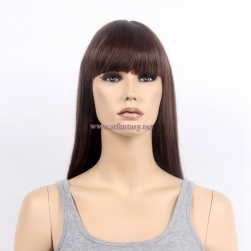 24inch Women Wig Elegant Brown Long Straight Synthetic Hair Wig From China