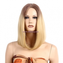 Wholesale Synthetic Blonde Wigs Medium Length Straight Real Hair Wigs For White Women