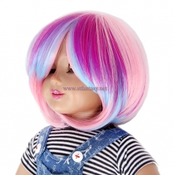 Rainbow American Girl Doll Wig Good Quality Short Straight Synthetic Wigs For Sale