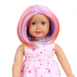 Wholesale American Girl Doll Wigs Colorful Short Straight Synthetic Wig With Bangs