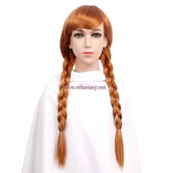China Natural Hair Wigs Wholesale Frozen Anna Cosplay Brown Synthetic Two Ponytails Kid Wigs