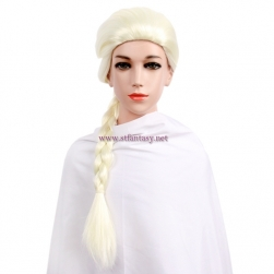 Wholesale Frozen Elsa White Cosplay Wig Synthetic Long Ponytail Braids Wig For Kid