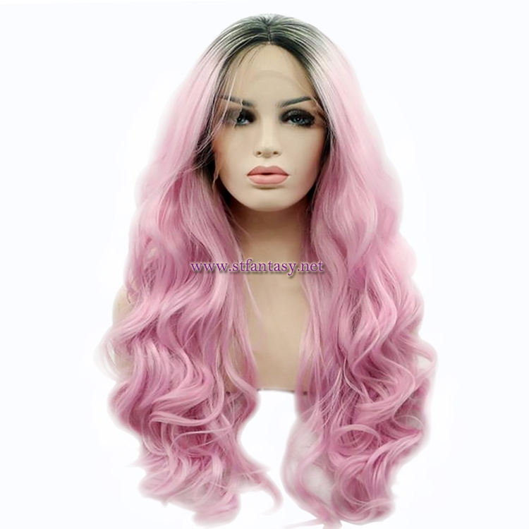 Fashion Lace Front Wig Wholesale Multi-Color Synthetic Hair Long Curly Wig For Women