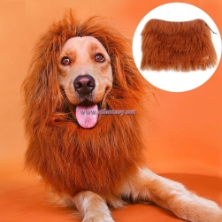 Wholesale High Quality Pet Wigs Keep Warm Brown Synthetic Hair Wig For Dog Or Lion