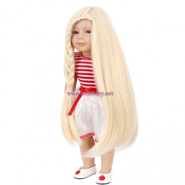 Fantasywig Wholesale Long Straight Synthetic Wig With Braids Blonde American Girl Doll Wig